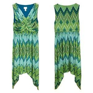 Chico's Maida Green Ikat Print Handkerchief Dress